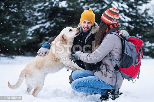 Young couple enjoying winter