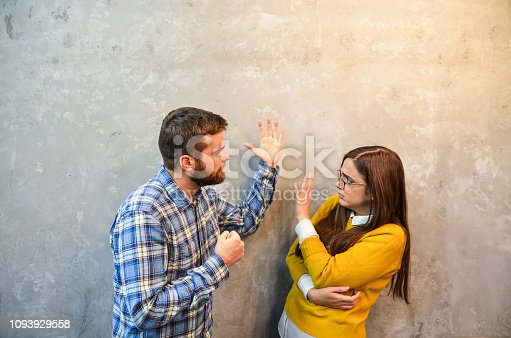 istock Young couple feel angry and get divorced try to make a deal 1093929558