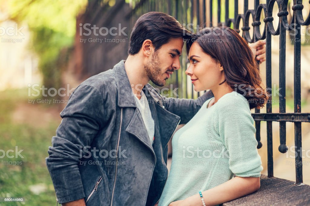 Young couple flirting stock photo
