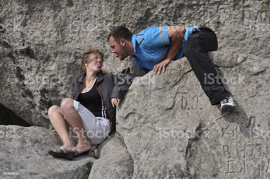 young couple fooling around royalty-free stock photo