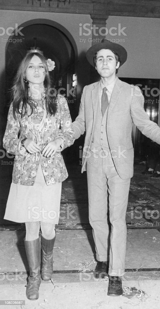 Young Couple from the Sixties,Black And White. royalty-free stock photo