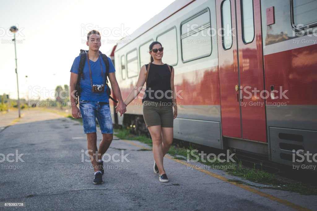 Young couple going on vacation stock photo