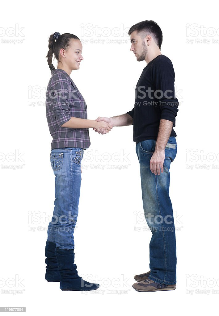 Young couple hand shake. royalty-free stock photo
