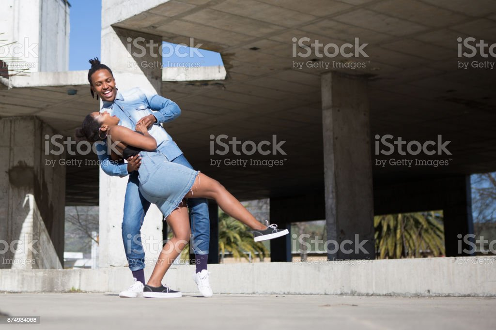 Young couple having a good dance together stock photo