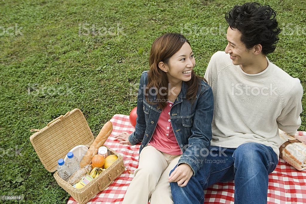 Young couple having a picnic royalty-free stock photo