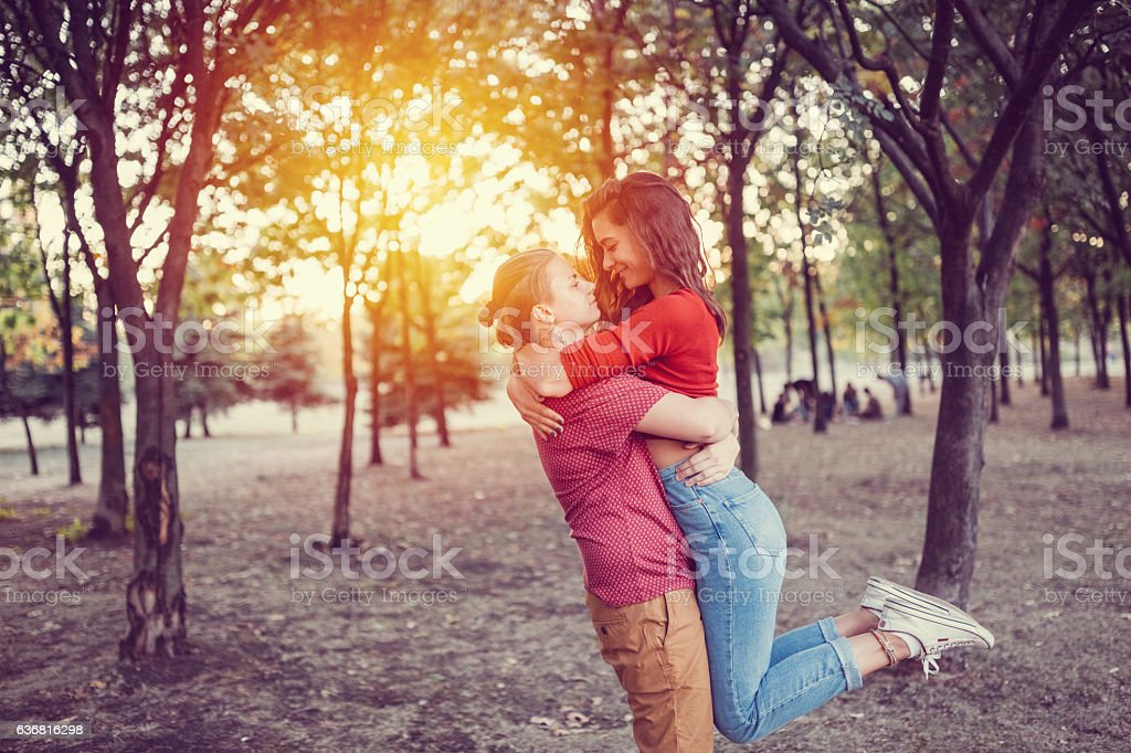 Young couple having fun among nature - Photo