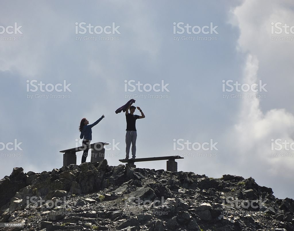 Young Couple Having Fun Around Alps Switzerland royalty-free stock photo