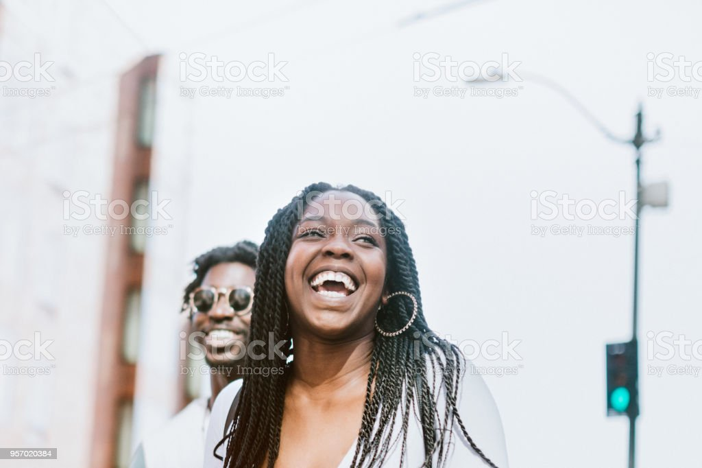 Young Couple Having Fun in Downtown Seattle Together stock photo