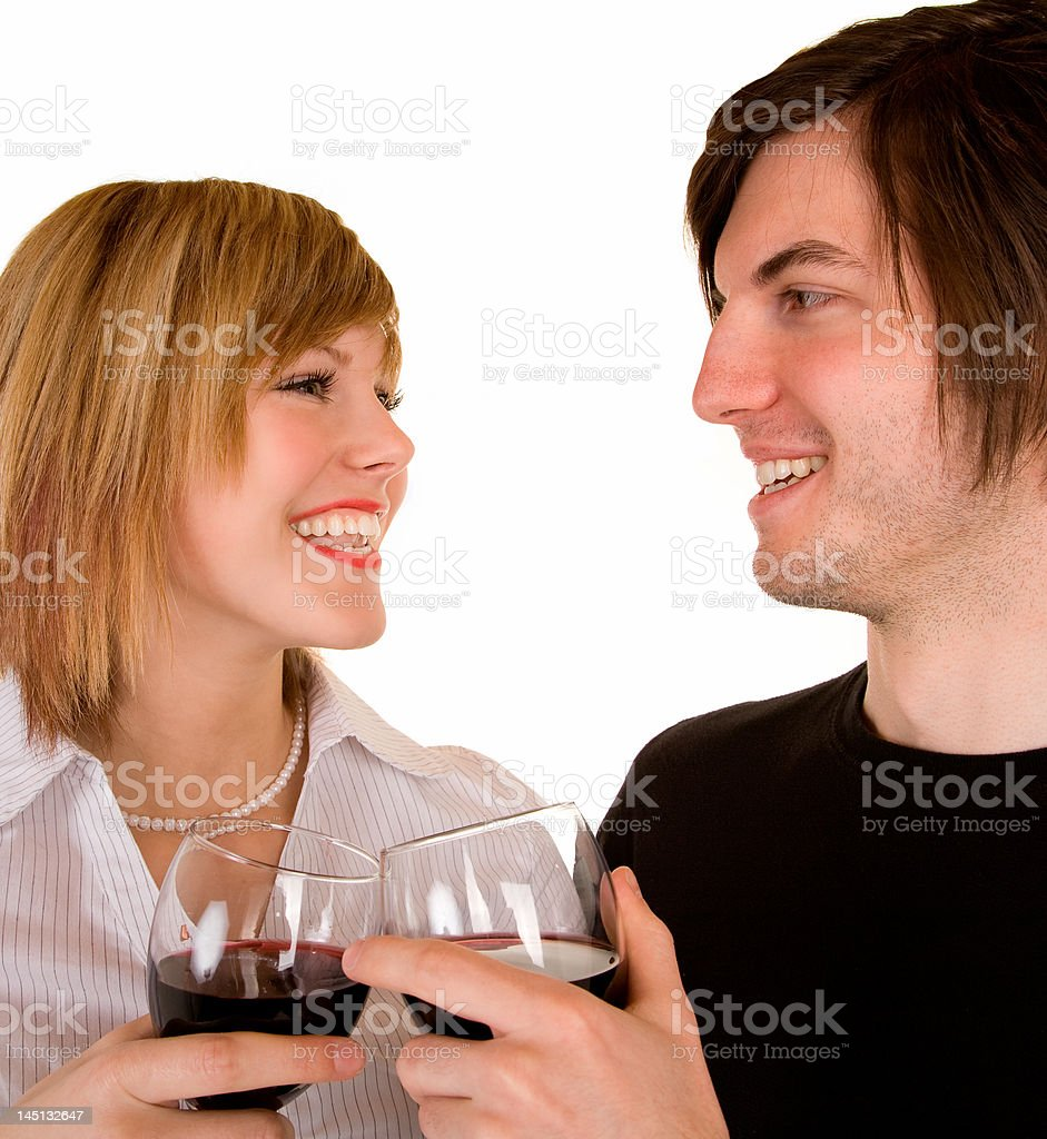 Young Couple Having Red Wine royalty-free stock photo
