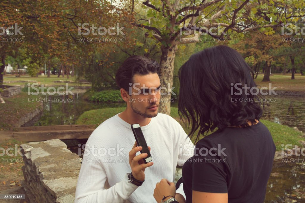 Young couple having trouble in a relatioship. Relationship difficulties. stock photo