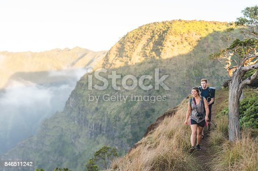 istock Young couple hiking in Hawaiian mountains 846511242