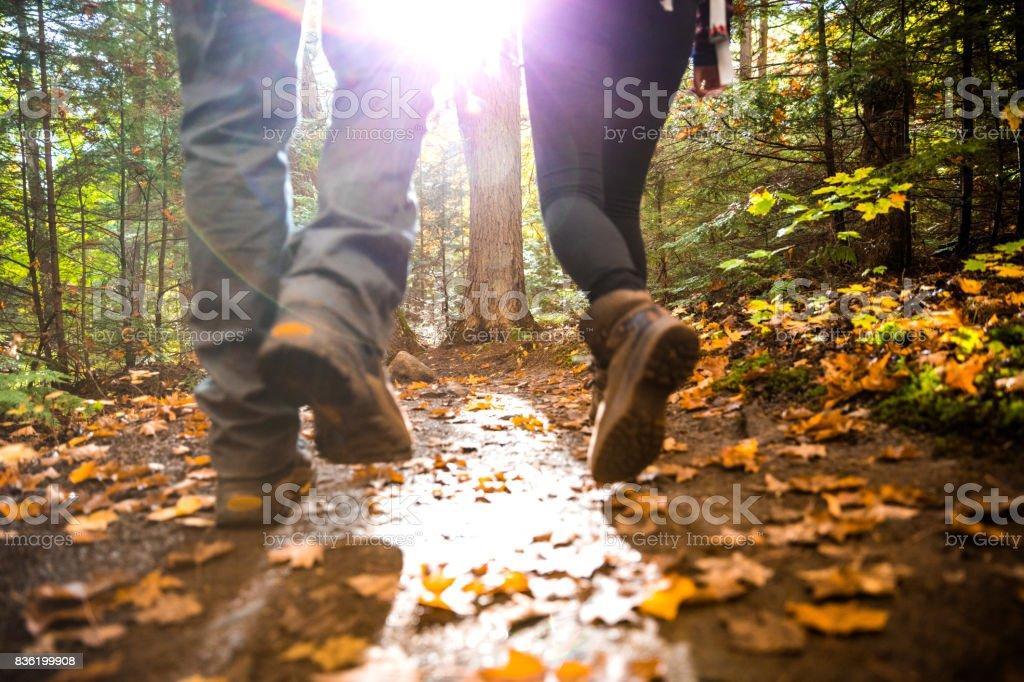 Jovem casal caminhadas na montanha em uma trilha em Canadá - foto de acervo