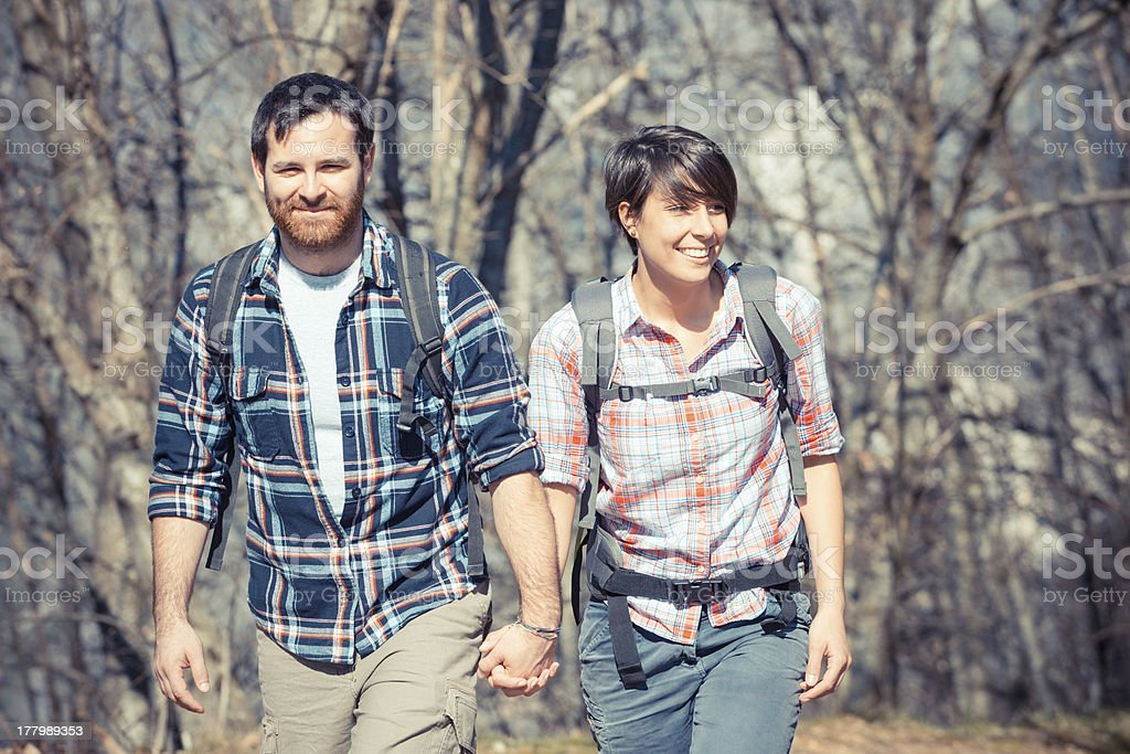 Young Couple Hiking in the Nature royalty-free stock photo