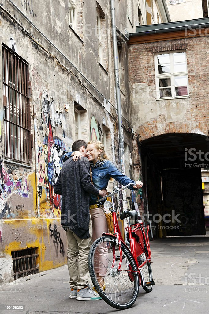 Young Couple Hugging in Alley royalty-free stock photo
