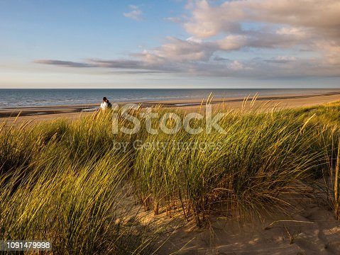 istock Young couple hugging in colorful marram grass covered dunes in northern France 1091479998