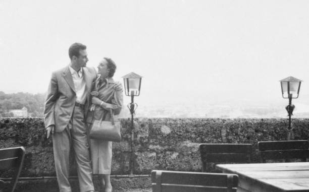 Young couple in 1950 stock photo