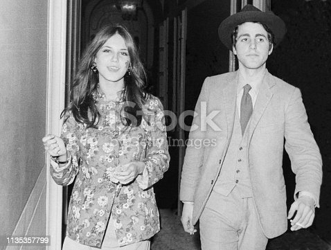 Young happy couple in 1968
