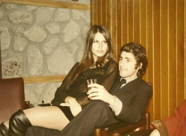 young couple in 1970. black and white. - 1970s style stock photos and pictures