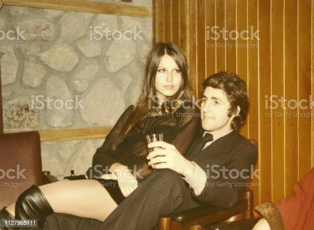 Young Couple in 1970. Black And White.