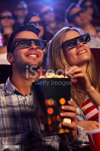 187095683 istock photo Young couple in 3D movie 188007793