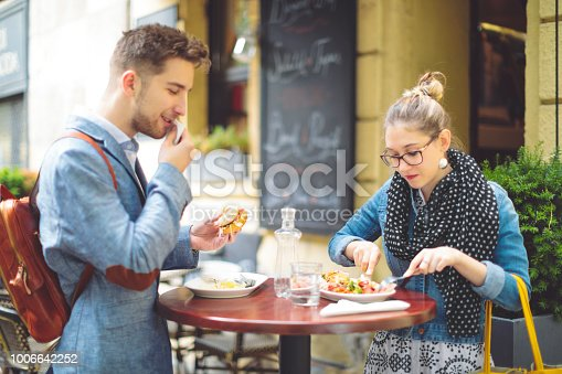 Young couple shopping in a coffee shop
