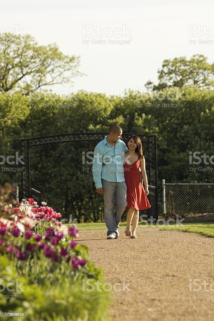Young Couple in a Garden Park royalty-free stock photo