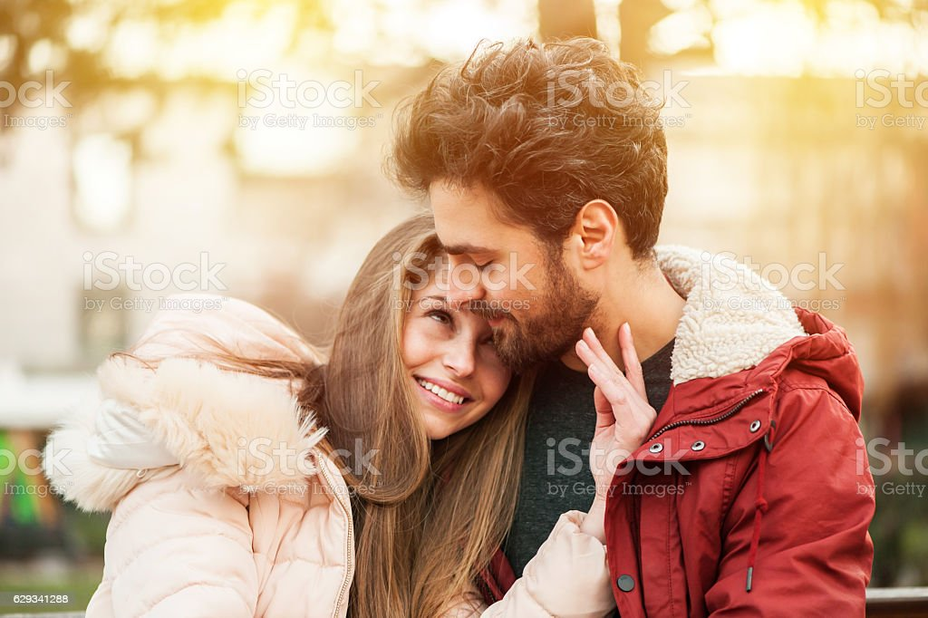 Young Couple in a Park stock photo