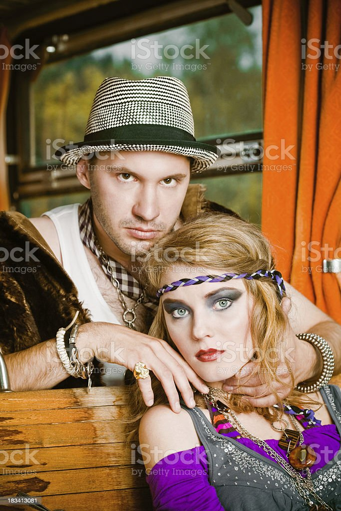 Young couple in a train royalty-free stock photo