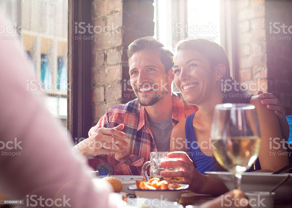 Young Couple in Bar stock photo