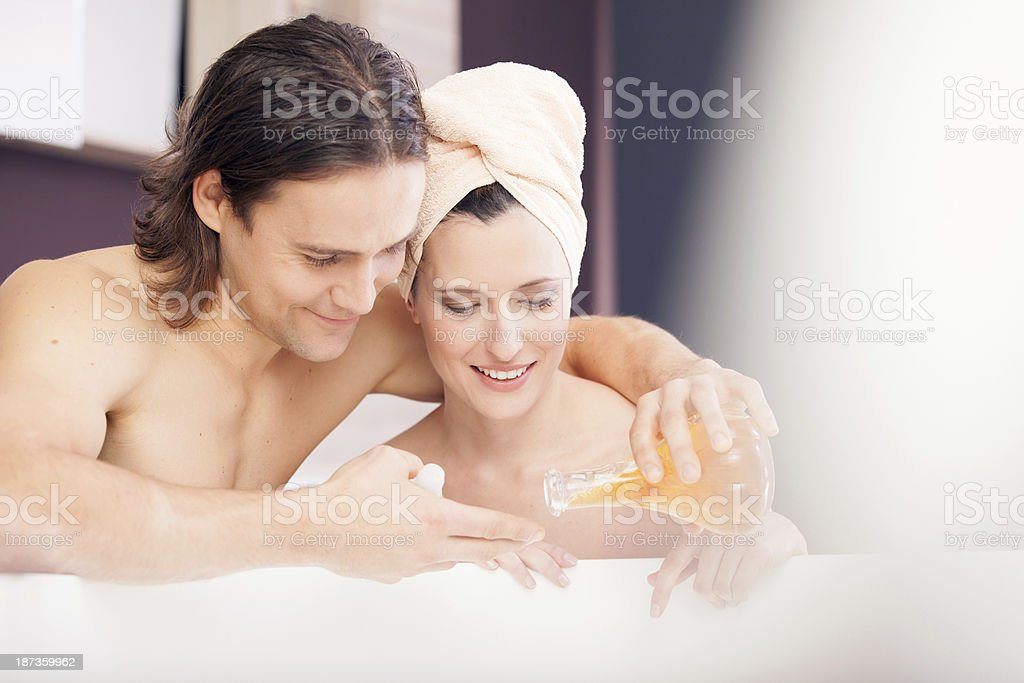 Young couple in bathroom royalty-free stock photo