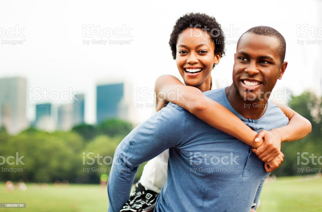 Young couple in Central Park royalty-free stock photo