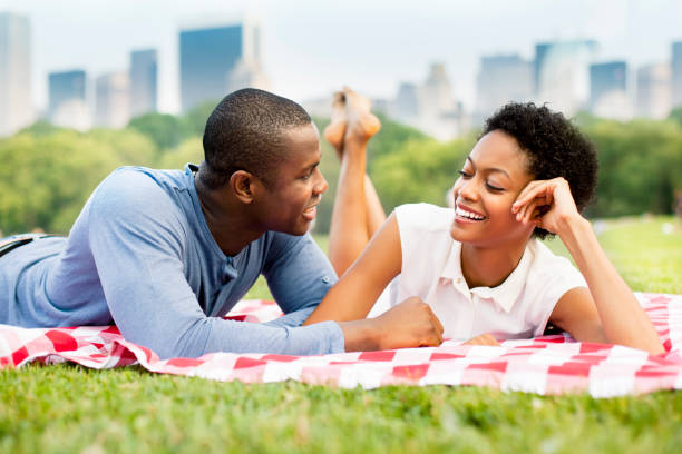 Young couple in Central Park stock photo