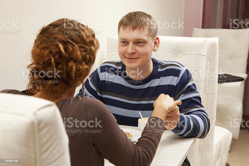 Young couple in coffee shop royalty-free stock photo