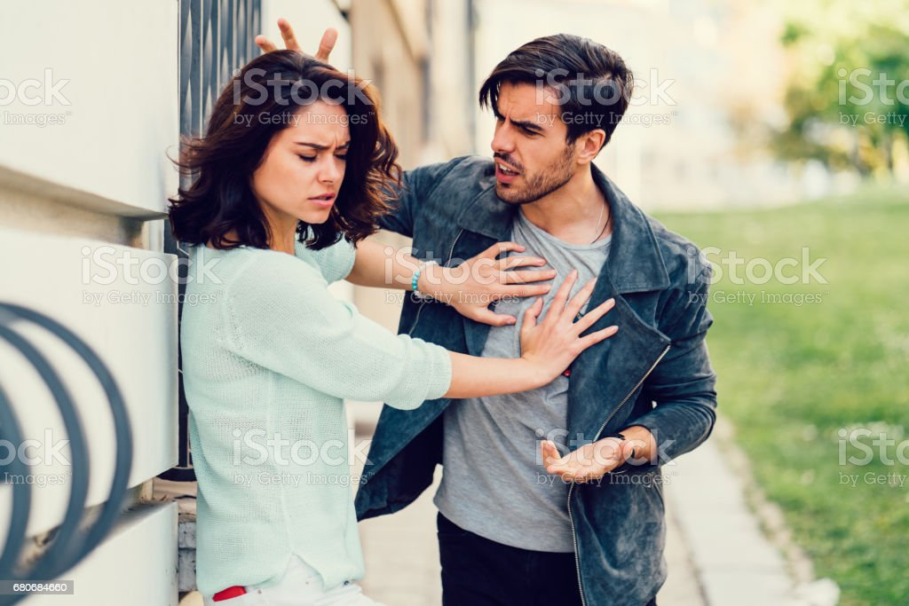 Young couple in conflict stock photo