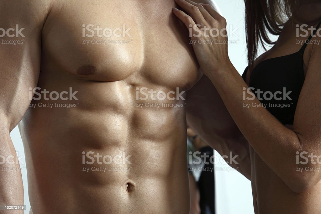 Young couple in gym stock photo
