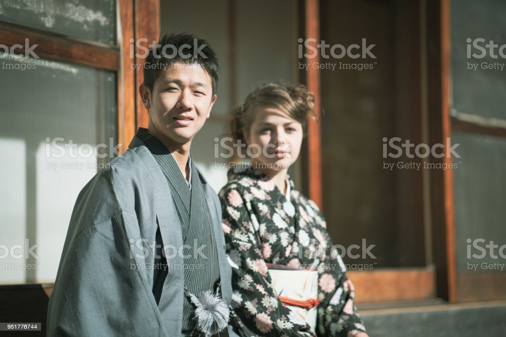 Young couple in Kamakura stock photo