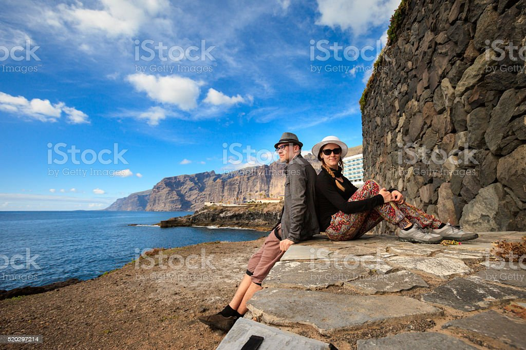 Young couple in Los Gigantes stock photo