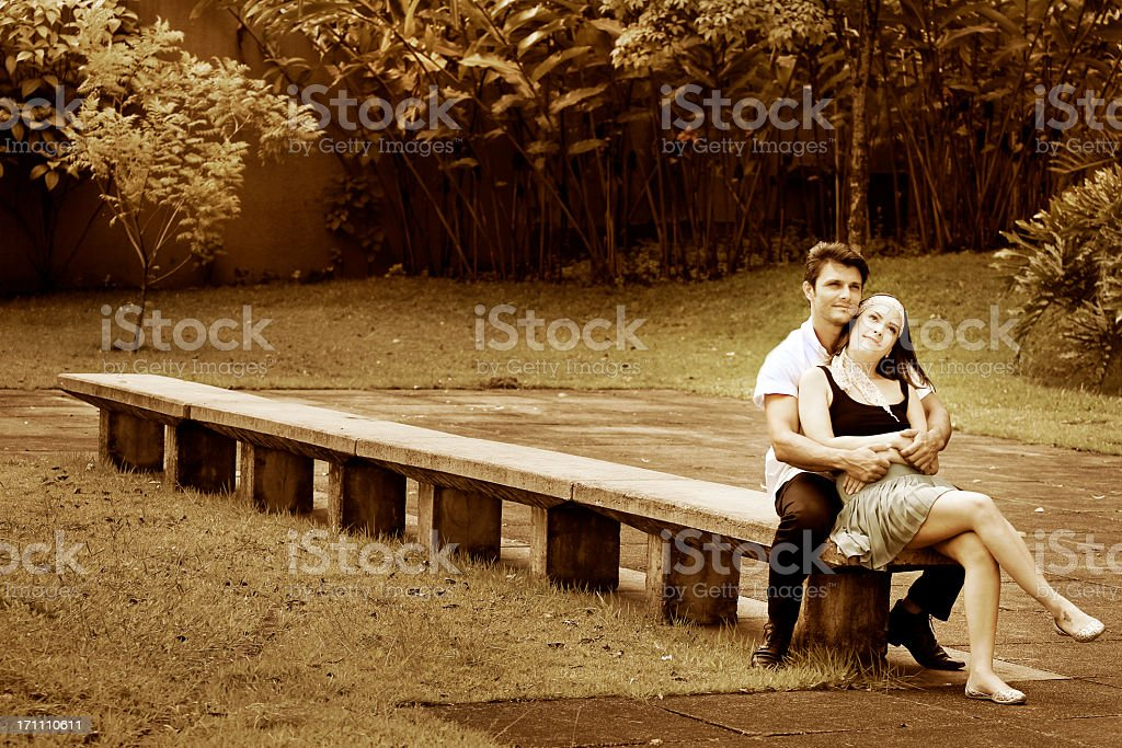 Young couple in love at the park royalty-free stock photo