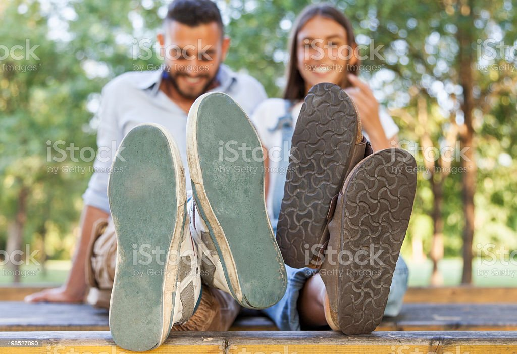 young couple in love in the park stock photo