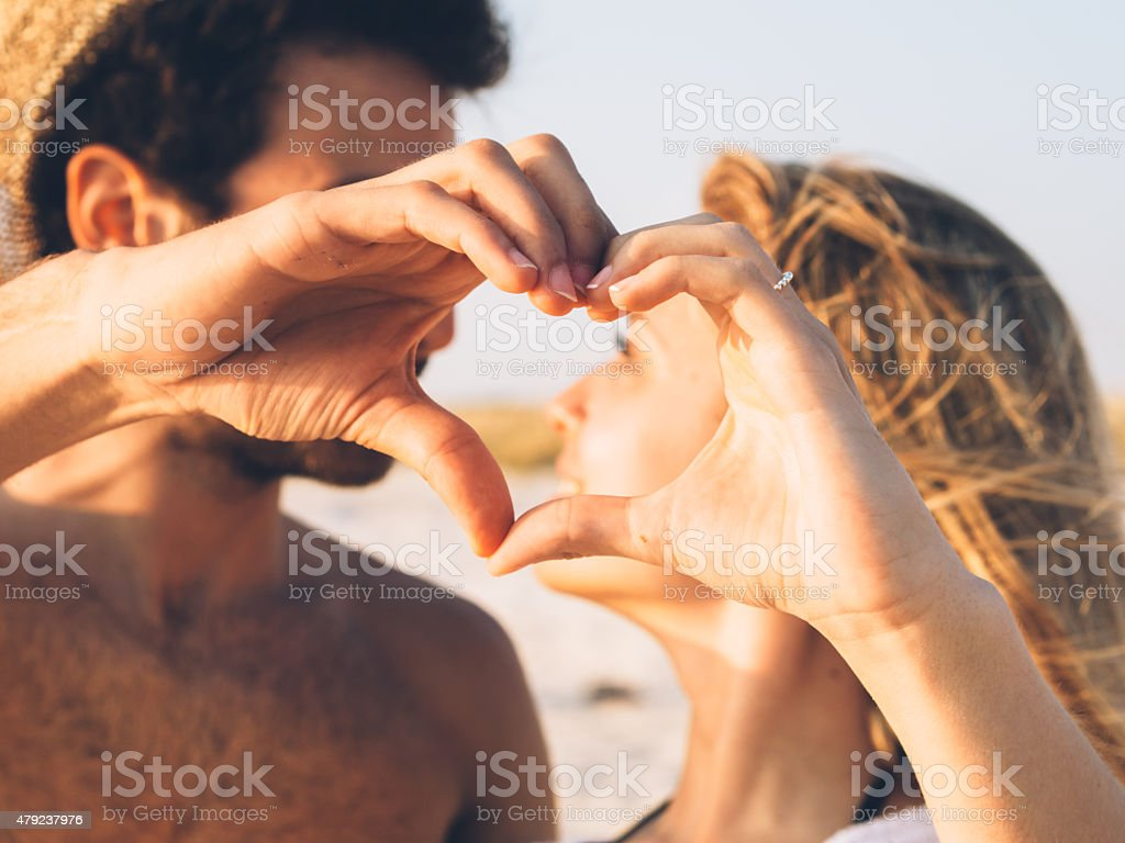 Young Couple In Love On The Beach stock photo