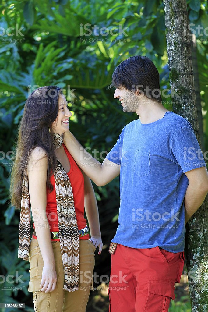 Young couple in love on the park stock photo