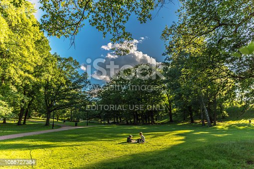 Oslo, Norway - June 19th 2018 - Young couple having a pic-nic in a green grass field in Oslo, Norway