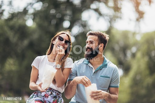 Profile side view of his he her she nice attractive lovely cheerful cheery, best friends married spouses talking on fresh air free time in green wood forest outdoors