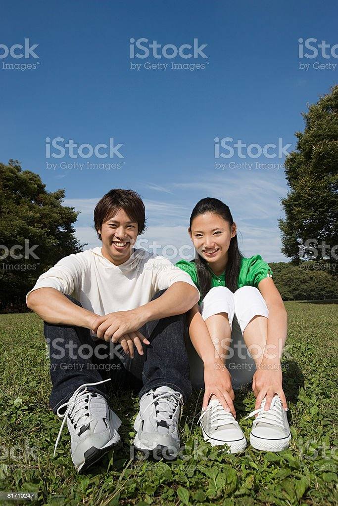 Young couple in park royalty-free stock photo