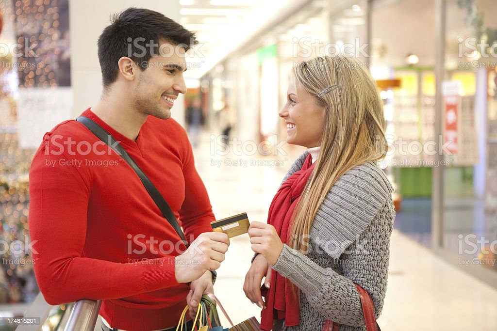 Young couple in shopping mall. royalty-free stock photo