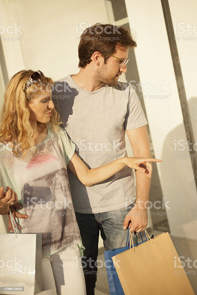 Young couple in shopping royalty-free stock photo