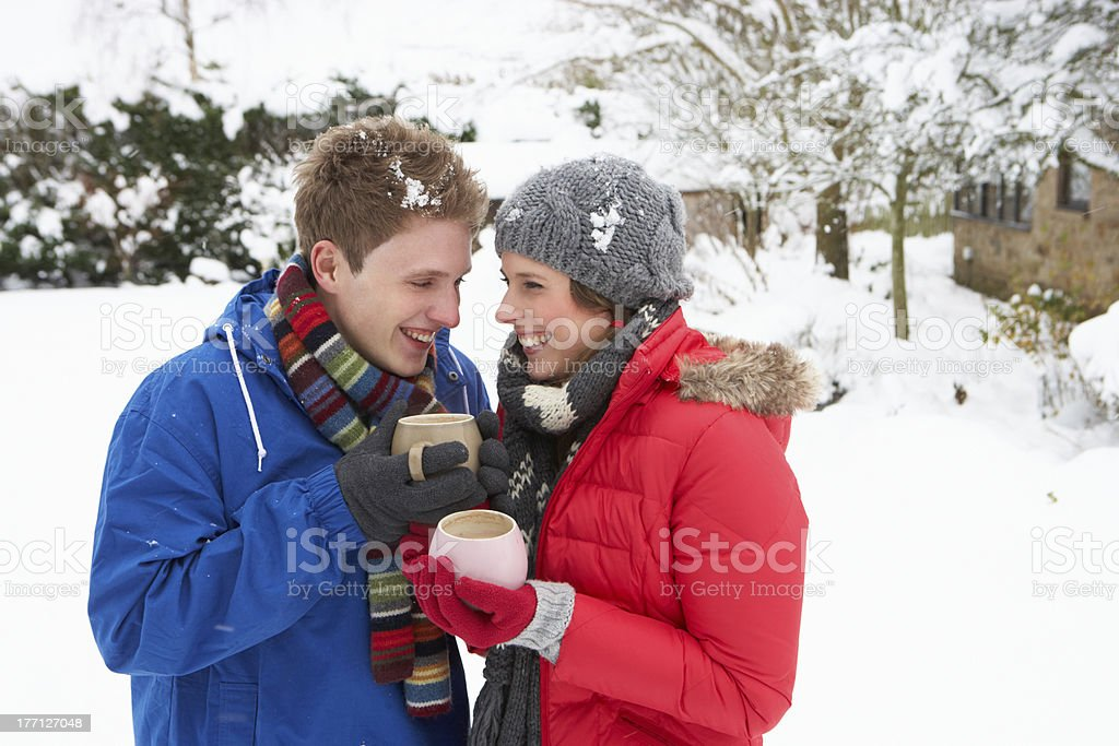 Young couple in snow stock photo