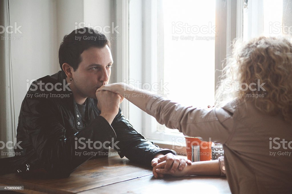 young couple in the cafe stock photo