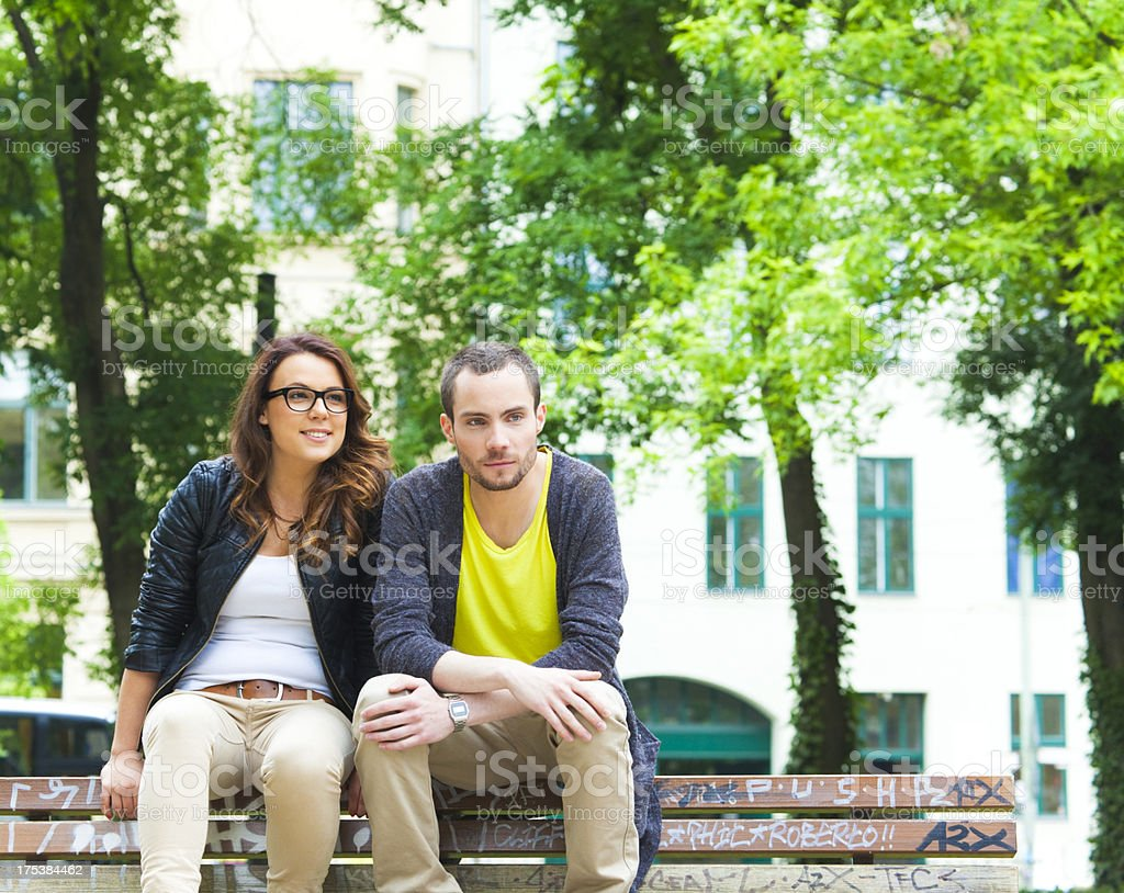 Young couple in the city park (Berlin, Germany) royalty-free stock photo