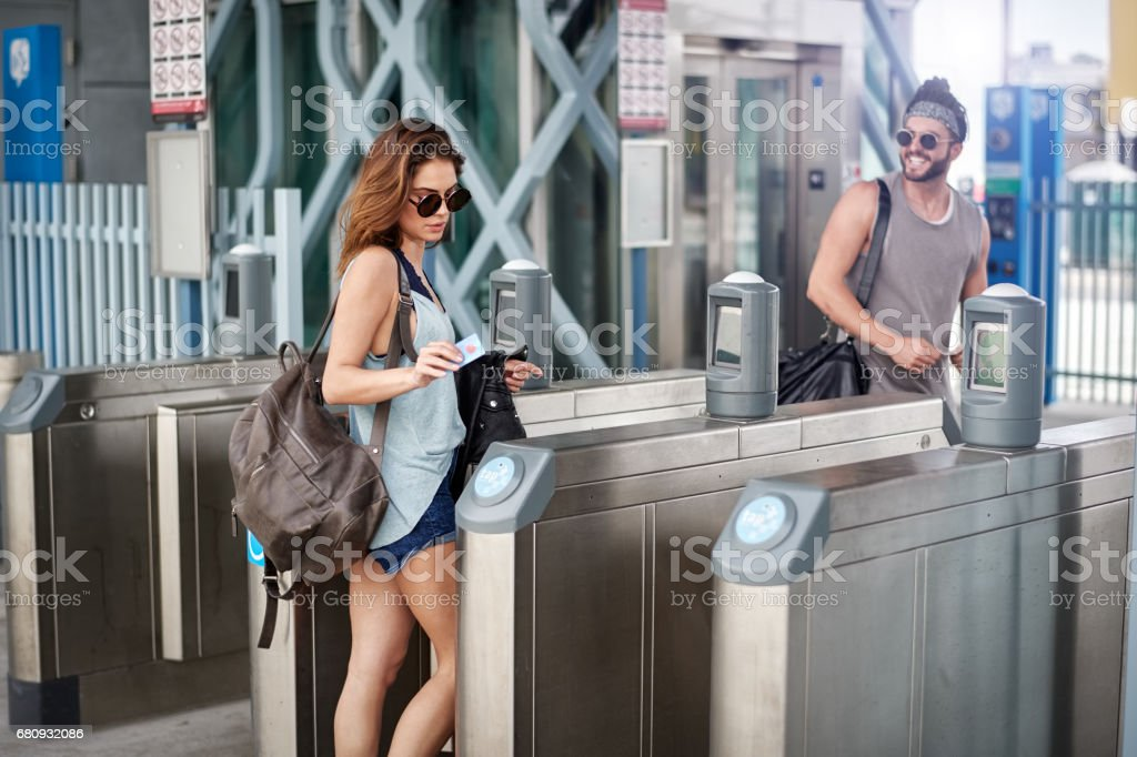 Young couple in the city royalty-free stock photo